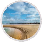 Round Beach Towel featuring the photograph Children Playing by Edgar Laureano