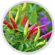 Round Beach Towel featuring the photograph Chili Pepper Art by Kerri Farley