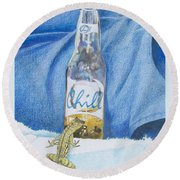 Round Beach Towel featuring the mixed media Chill by Constance DRESCHER