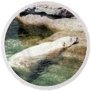 Chillin' Polar Bear Round Beach Towel