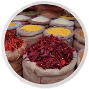 Chilliy Peppers Round Beach Towel by Mini Arora