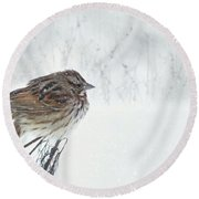Round Beach Towel featuring the mixed media Chilly Song Sparrow by Lori Deiter
