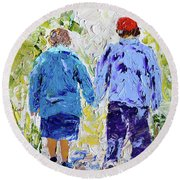 Chilly Spring Walk Round Beach Towel