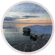 Round Beach Towel featuring the photograph Chilly View by Greta Larson Photography