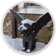 Chimera In The Snow Round Beach Towel