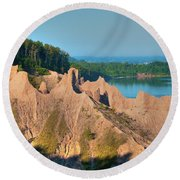 Chimney Bluffs 1750 Round Beach Towel