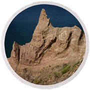 Chimney Bluffs Round Beach Towel