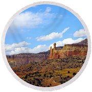 Round Beach Towel featuring the photograph Chimney Rock Ghost Ranch New Mexico by Kurt Van Wagner