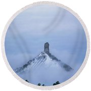 Chimney Rock Rising Round Beach Towel