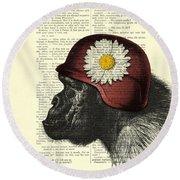 Chimpanzee With Helmet Daisy Flower Dictionary Art Round Beach Towel