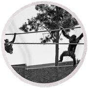 Round Beach Towel featuring the photograph Chimps In Black And White by Miroslava Jurcik