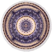Round Beach Towel featuring the painting China Blue by Kym Nicolas