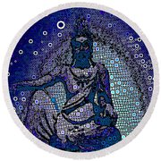 China Contemplation On Antiquity Round Beach Towel by Saundra Myles