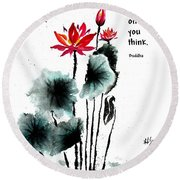 China Garden With Buddha Quote Round Beach Towel