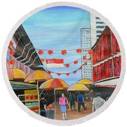China Town Singaporesg50 Round Beach Towel
