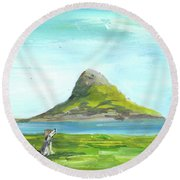 Chinamans Hat Island  Round Beach Towel