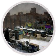 Round Beach Towel featuring the photograph Chinatown Rooftops In Winter by Chris Lord