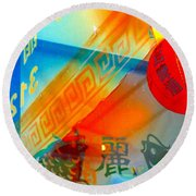 Chinatown Window Reflection 3 Round Beach Towel by Marianne Dow