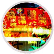Chinatown Window Reflection 4 Round Beach Towel by Marianne Dow