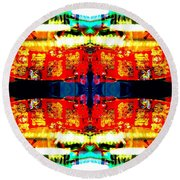 Chinatown Window Reflection 5 Round Beach Towel