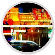 Chinatown Window Reflections 2 Round Beach Towel