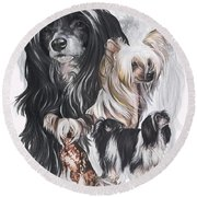 Chinese Crested And Powderpuff Medley Round Beach Towel