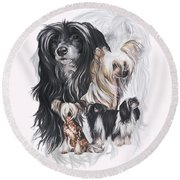 Chinese Crested And Powderpuff W/ghost Round Beach Towel