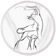Chinese Crested Gesture Sketch Round Beach Towel