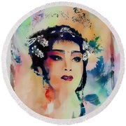 Chinese Cultural Girl - Digital Watercolor  Round Beach Towel