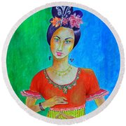 Chinese Dancer -- The Original -- Portrait Of Asian Woman Round Beach Towel