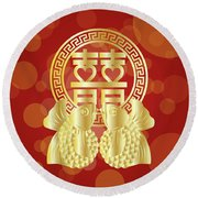 Chinese Double Happiness Koi Fish Red Background Round Beach Towel