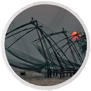 Chinese Fishing Nets, Cochin Round Beach Towel by Marion Galt