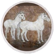 Round Beach Towel featuring the drawing Chinese Horses by Nareeta Martin