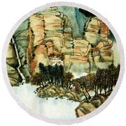 Chinese Landscape #1 Round Beach Towel