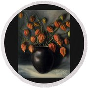 Round Beach Towel featuring the painting Chinese Lanterns by Randol Burns