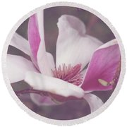 Round Beach Towel featuring the photograph Chinese Magnolia Bloom by Toni Hopper