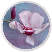 Chinese Magnolia Flower With Bud Round Beach Towel
