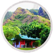 Round Beach Towel featuring the photograph Chinese Pagoda In Maui by Michael Rucker