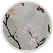 Chinoiserie - Magnolias And Birds #3 Round Beach Towel