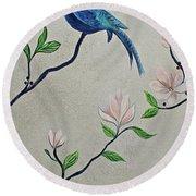 Chinoiserie - Magnolias And Birds #4 Round Beach Towel
