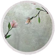 Chinoiserie - Magnolias And Birds Round Beach Towel