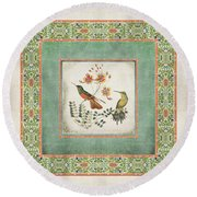 Chinoiserie Vintage Hummingbirds N Flowers 1 Round Beach Towel by Audrey Jeanne Roberts