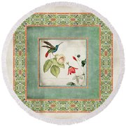 Chinoiserie Vintage Hummingbirds N Flowers 2 Round Beach Towel by Audrey Jeanne Roberts