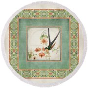 Chinoiserie Vintage Hummingbirds N Flowers 3 Round Beach Towel