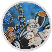 Chip And Dip In Space Olives Round Beach Towel