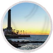 Chipiona Lighthouse Cadiz Spain Round Beach Towel