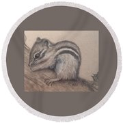 Round Beach Towel featuring the drawing Chipmunk, Tn Wildlife Series by Annamarie Sidella-Felts