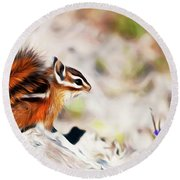 Round Beach Towel featuring the digital art Chipper by Timothy Hack