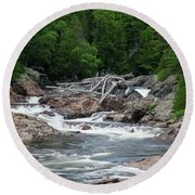 Round Beach Towel featuring the photograph Chippewa Falls And River by Rachel Cohen