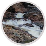 Round Beach Towel featuring the photograph Chippewa Falls by Rachel Cohen